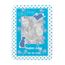 New Baby Boy Photo Magnet, Cute Bunny Rabbits Magnet