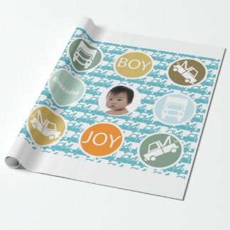 New Baby Boy Photo Wrapping Paper