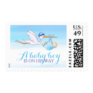 New baby boy stork delivery watercolor art stamp