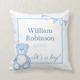 New Baby Boy Teddy Bear Pillow