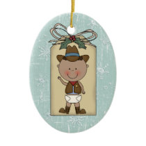 New Baby Boy Toddler Child Cowboy Gift Tag Ceramic Ornament