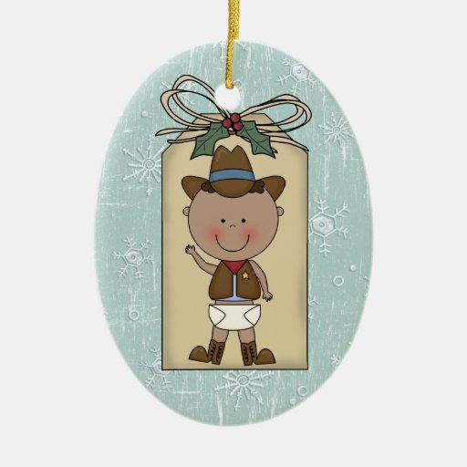 Baby Boy Gifts For Christmas : New baby boy toddler child cowboy gift tag christmas tree