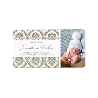 NEW BABY BROWN DAMASK | ADDRESS LABELS