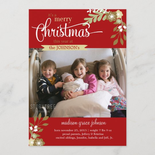new baby christmas announcement custom name photo zazzle com