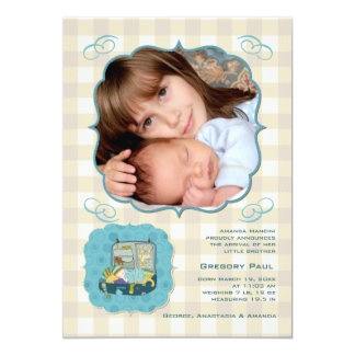 New Baby Comes Home Photo Birth Announcement