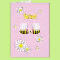 New Baby Congratulations Twin Girls Card
