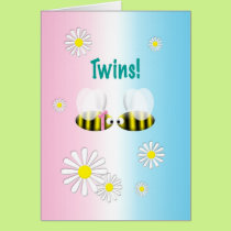 New Baby Congratulations Twins Boy and Girl Card