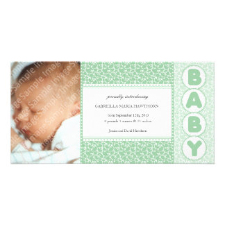 New Baby Country Damask Green Photo Cards