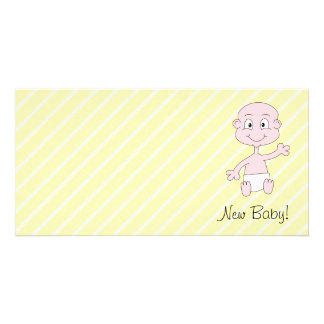 New Baby! Cute baby waving. On Yellow stripes. Customized Photo Card