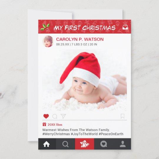 New Baby First Christmas Instagram Frame Photo Holiday Card | Zazzle.com