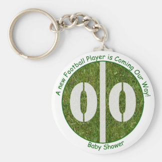 New Baby Football Player Baby Shower Basic Round Button Keychain
