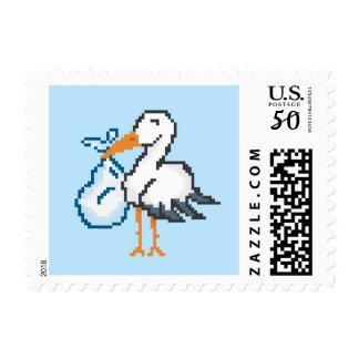 New Baby Gamer 8bit Pixel Stork Postage (Blue)