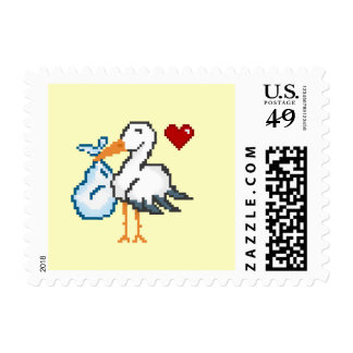 New Baby Gamer Pixel Stork Postage