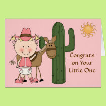 New Baby Girl and Pony Congratulations - Western Card