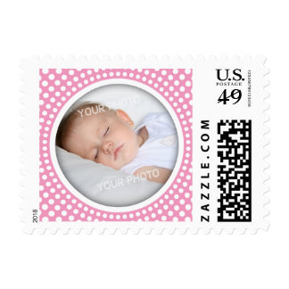 New baby girl announcement photo frame postage