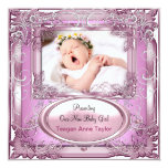 New Baby Girl Announcement Pink Silver Invitations