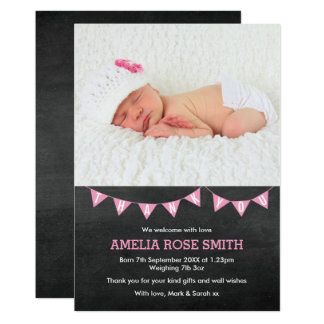 New baby girl announcement/thank you card