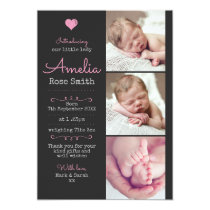 New baby girl announcement/thank you card A5