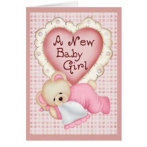 New Baby Girl Bear Greeting Cards