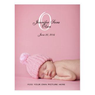 New Baby Girl Birth Announcement Photo Post Cards