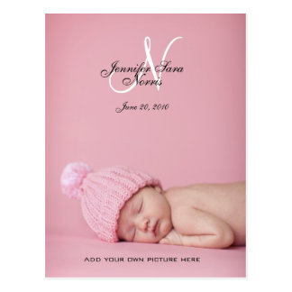 New Baby Girl Birth Announcement Photo Postcards