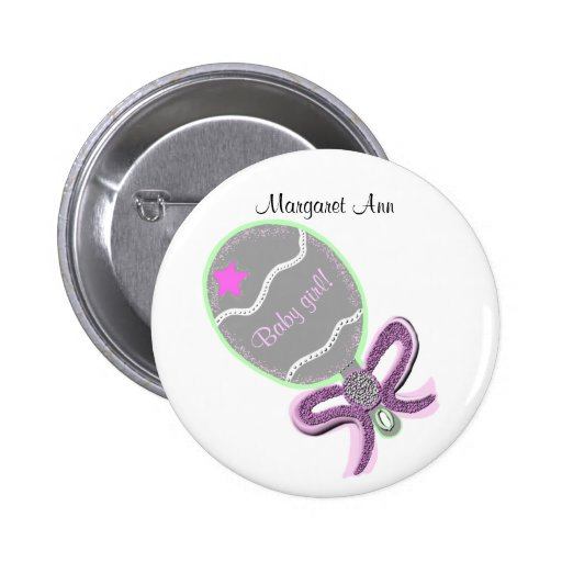 New Baby Girl Button CUSTOMIZE NAME Pins