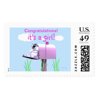 New Baby Girl Congratulations - Bunny in Mailbox Postage