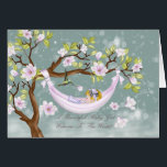 """new baby girl congratulations card - welcome<br><div class=""""desc"""">A modern baby girl card,  with a cute little baby in a hammock hanging from a magnolia tree with a little humming bird holding a flower for a gift. A new and timeless way to welcome that new baby girl into the world With thanks to E.D.Resario</div>"""