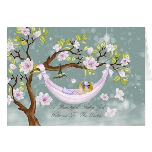 new baby girl congratulations card - welcome