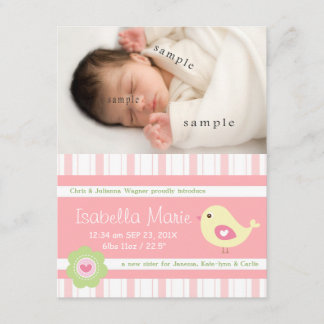 New Baby Girl Cute Pink Photo Birth Announcement
