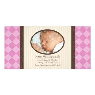 New Baby Girl Decor Plaid Baby Birth Photo Card