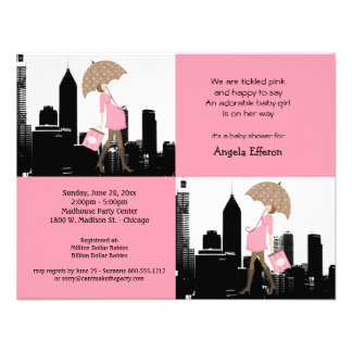 New Baby Girl In The City Baby Shower Invitation