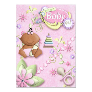 New Baby Girl Invitation, announcement, greeting 5x7 Paper Invitation Card