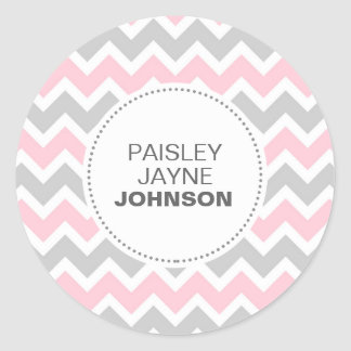 New baby GIRL NAME announcement envelope seal Classic Round Sticker