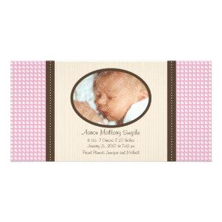 New Baby Girl Pattern Baby Birth Photo Card
