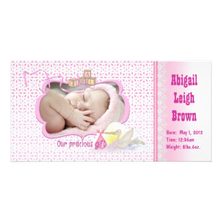New Baby Girl Photo Card