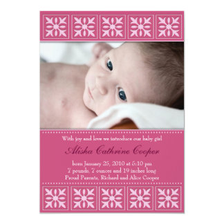 """New Baby Girl Photo Flat Card Announcement 5"""" X 7"""" Invitation Card"""
