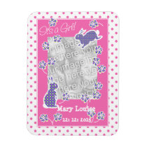 New Baby Girl Photo Magnet, Cute Bunny Rabbits Magnet