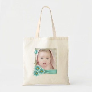 new baby girl photo modern Birth Announcement Tote Bag