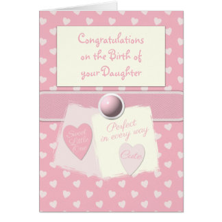 New baby girl pink card