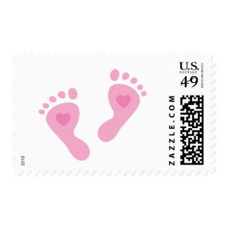 New baby girl pink feet postage stamp