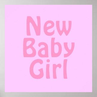 New Baby Girl. Pretty Pink. Custom Poster