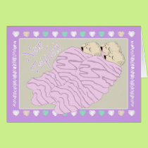 New Baby Girl Triplets Card
