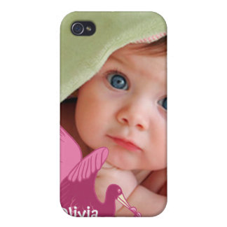 New Baby Girl Your Photo Pink Stork iPhone Cover