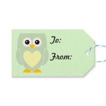 New Baby Green Owl Gift Tags