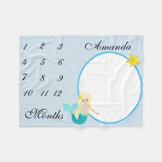 New Baby Infant Milestone Mermaid Keepsake Photo Fleece Blanket