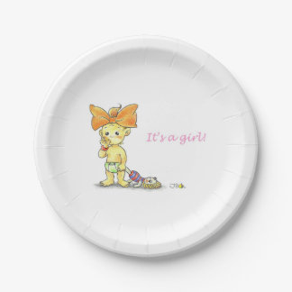 New Baby - It's a Girl! 7 Inch Paper Plate
