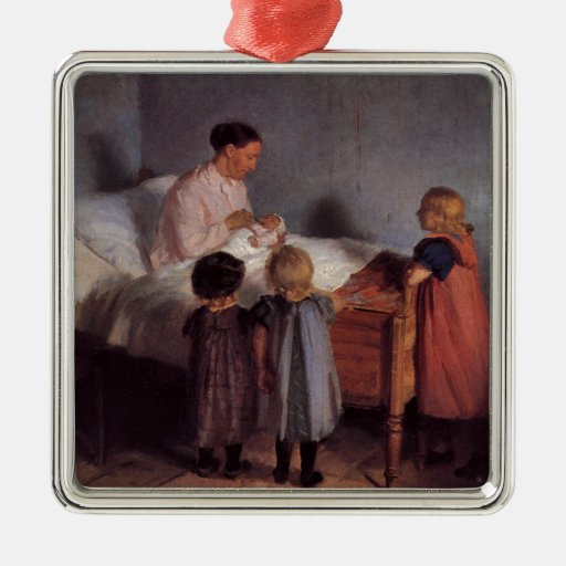 New baby little brother painting Dutch art Ancher Metal Ornament