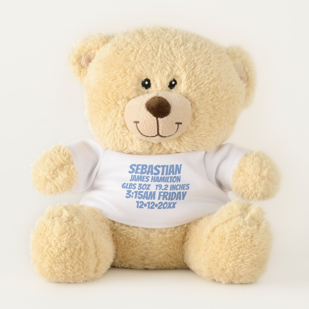 New Baby Personalized Birth Information (blue)