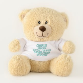 New Baby Personalized Birth Information (green) Teddy Bear